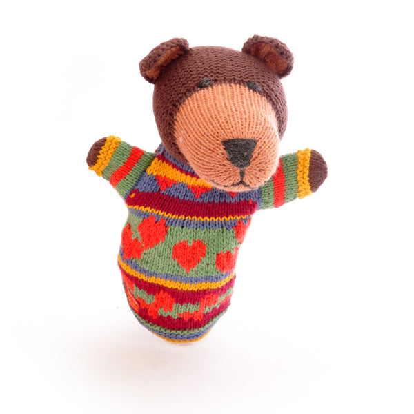 Chunki Chilli Brown Bear Hand Puppet in Organic Cotton