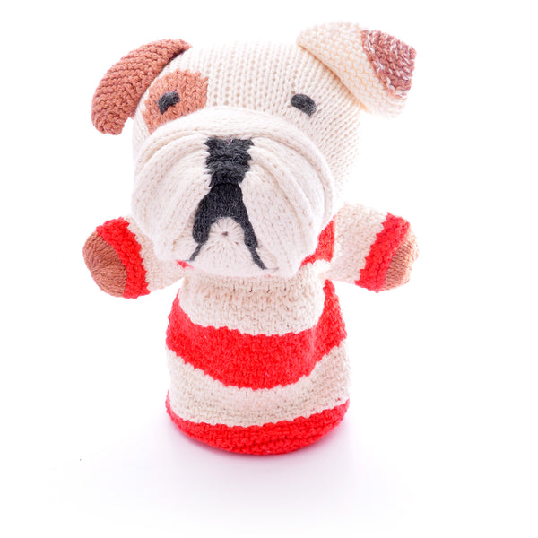 Chunki Chilli Stripy Bulldog Hand Puppet in Organic Cotton