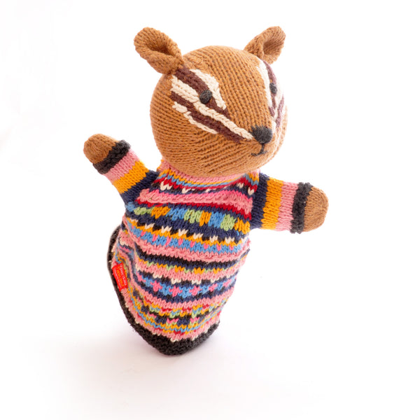 Chunki Chilli Chipmunk Hand Puppet in Organic Cotton