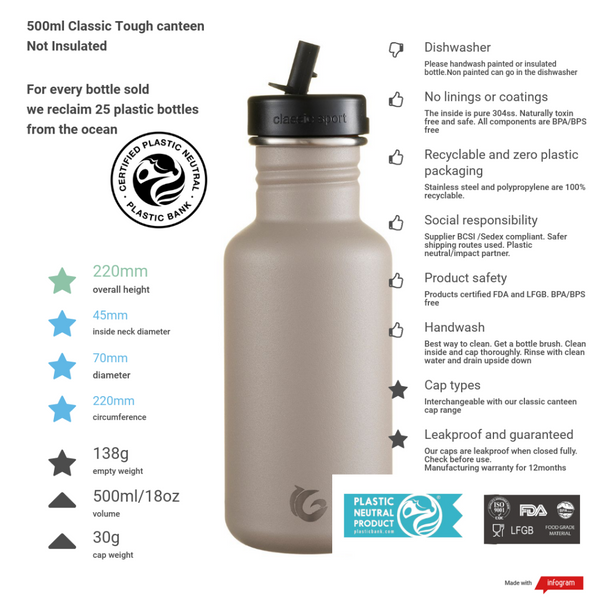 500ml One Green Bottle Tough Canteen - Shark Fin