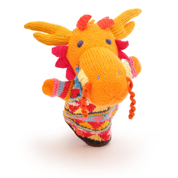 Chunki Chilli Dragon Hand Puppet in Organic Cotton