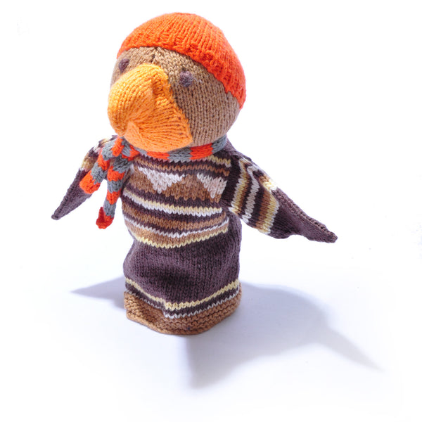 Chunki Chilli Organic Cotton Eagle Hand Puppet Orange Beanie