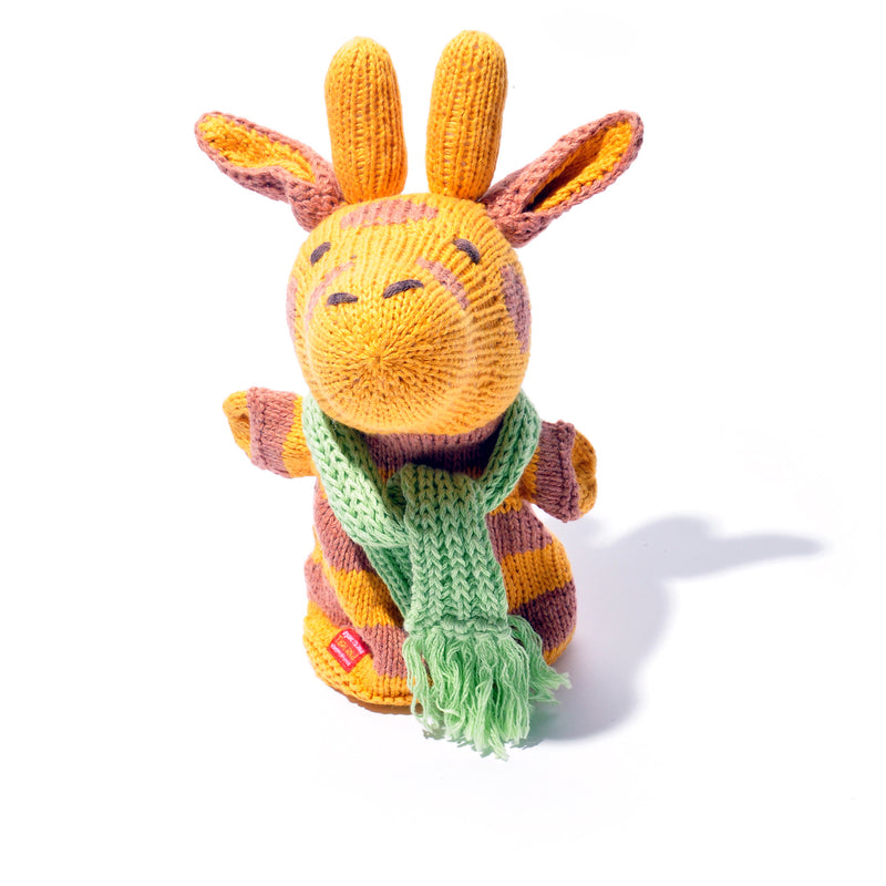 Chunki Chilli Hand Knitted Giraffe Hand Puppet in Organic Cotton