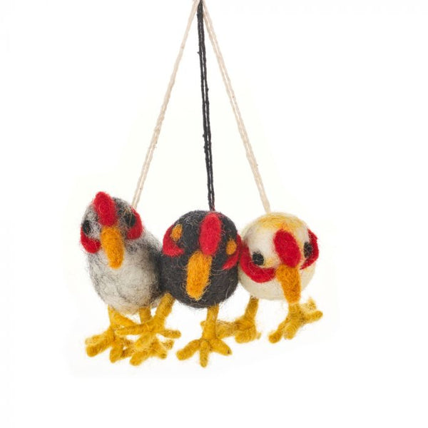 Felt So Good Handmade Cheeky Chickens (Bag of 3) Hanging Easter Decoration
