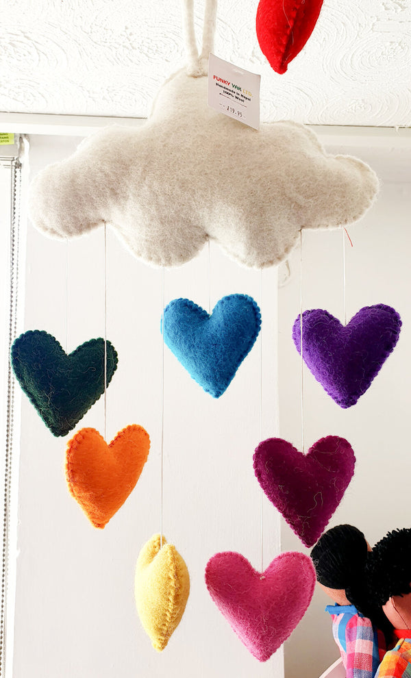 Funky Yak Rainbow Heart Cloud Mobile