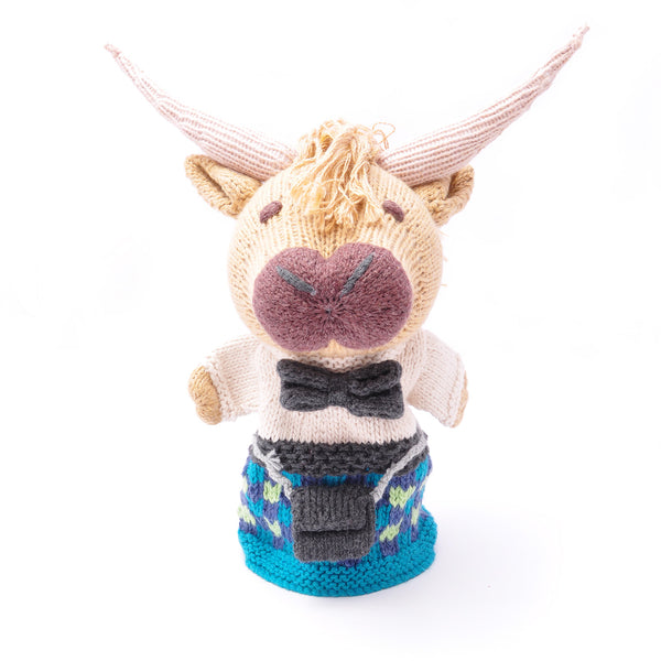 Chunki Chilli Highlander Cow Puppet in Blue Kilt