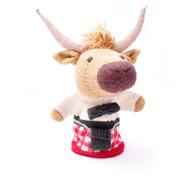 Chunki Chilli Highlander Cow Hand Puppet in Red Kilt