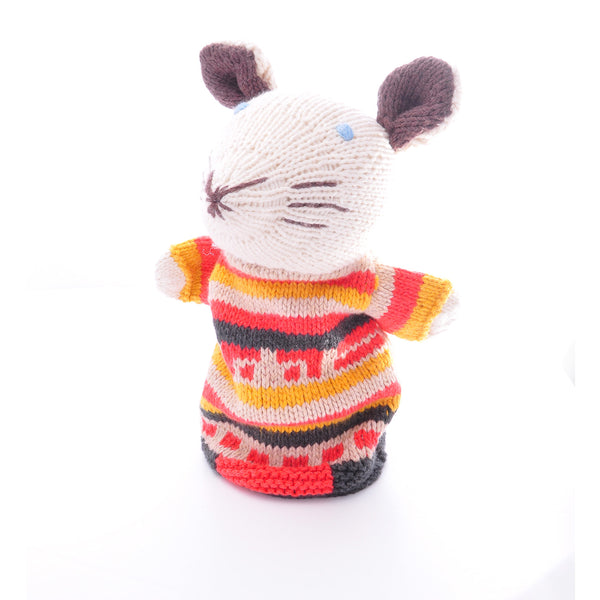 Chunki Chilli Organic Cotton Mouse Hand Puppet in Stripy Top