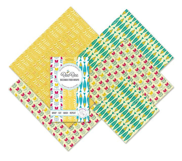 Beebee Beeswax Wraps, Family Multipack of 5