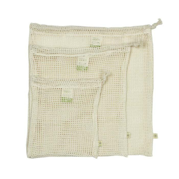 Organic Cotton Mesh Produce Bags - Set Of 3