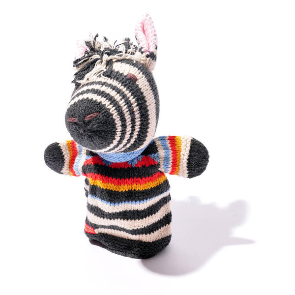 Chunki Chilli Hand Knitted Zebra Hand Puppet in Organic Cotton