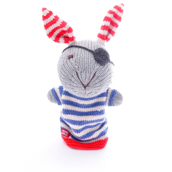 Chunki Chilli Pirate Rabbit Hand Puppet in Organic Cotton
