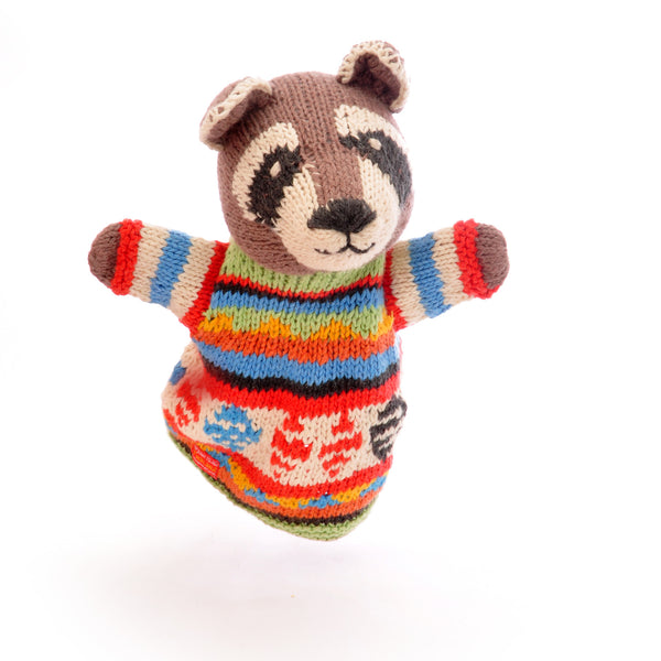Chunki Chilli Raccoon Hand Puppet in Organic Cotton