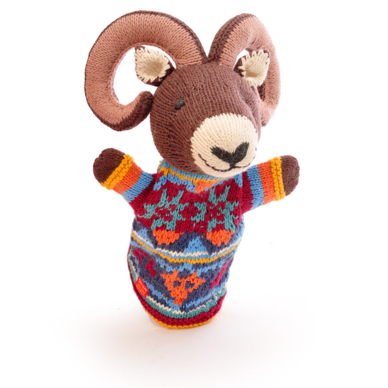Chunki Chilli Hand Knitted Ram Hand Puppet in Organic Cotton
