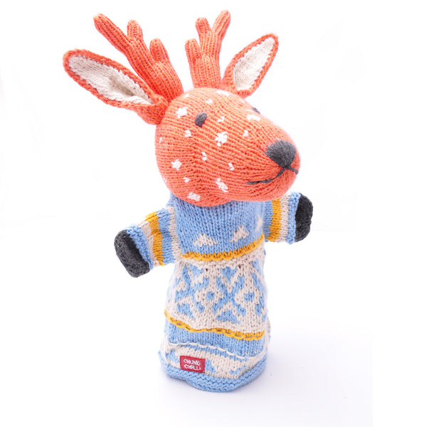 Chunki Chilli Organic Cotton Reindeer Hand Puppet in Blue Top