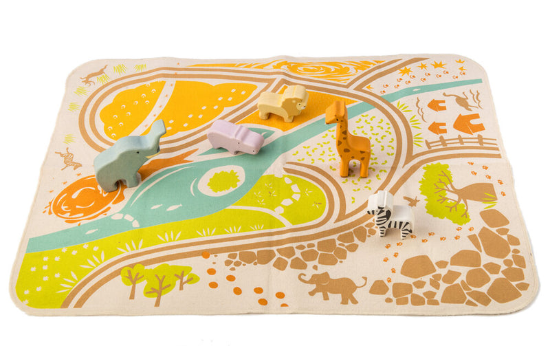 Tenderleaf Toys Safari Playmat & Animals Playset