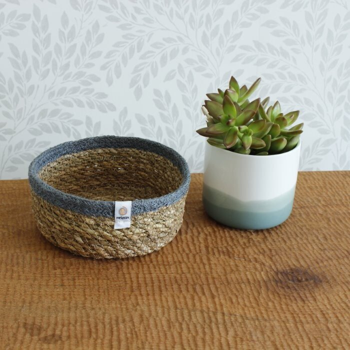 Respiin Seagrass & Jute Basket - Small - Natural/Grey