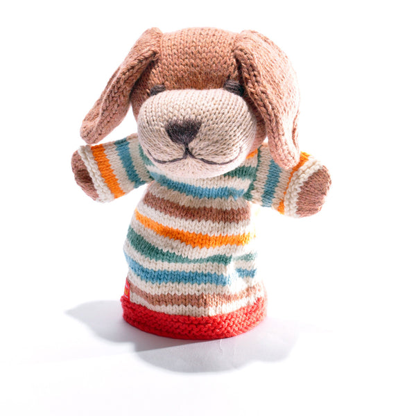 Chunki Chilli Organic Cotton Dog Hand Puppet White Stripe