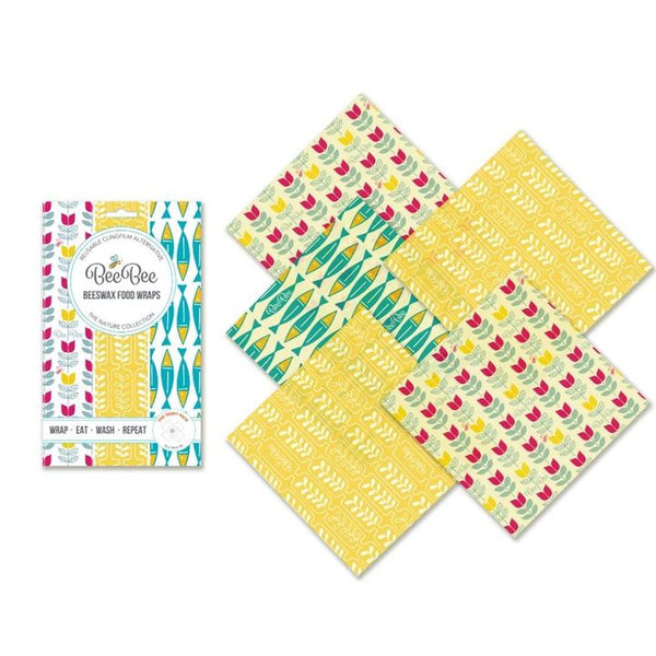BeeBee Beeswax Wraps, 5 x Small Wraps (18cm) Mixed Designs