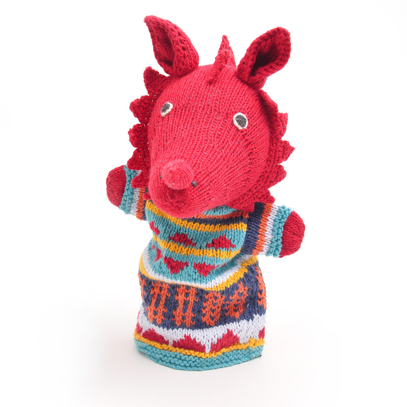 Chunki Chilli Welsh Dragon Hand Puppet in Organic Cotton