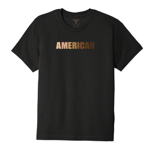 "black unisex crew neck 100% cotton short sleeve graphic t-shirt with ""American"" printed in a range of skin tones."