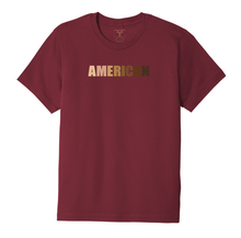 "Load image into Gallery viewer, Currant red unisex crew neck 100% cotton short sleeve graphic t-shirt with ""American"" printed in a range of skin tones."