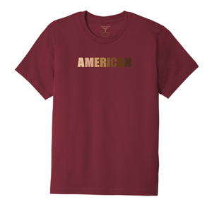 "Currant red unisex crew neck 100% cotton short sleeve graphic t-shirt with ""American"" printed in a range of skin tones."