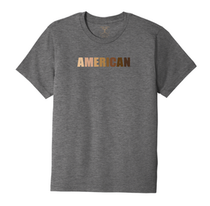 "Heather grey unisex crew neck  cotton/poly short sleeve graphic t-shirt with ""American"" printed in a range of skin tones."