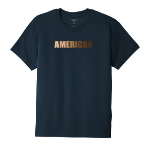 "Navy unisex crew neck 100% cotton short sleeve graphic t-shirt with ""American"" printed in a range of skin tones."