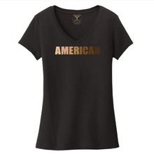 "Load image into Gallery viewer, black women's v-neck 100% cotton short sleeve graphic t-shirt with ""American"" printed in a gradient of skin tones."