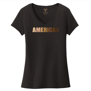"black women's v-neck 100% cotton short sleeve graphic t-shirt with ""American"" printed in a gradient of skin tones."