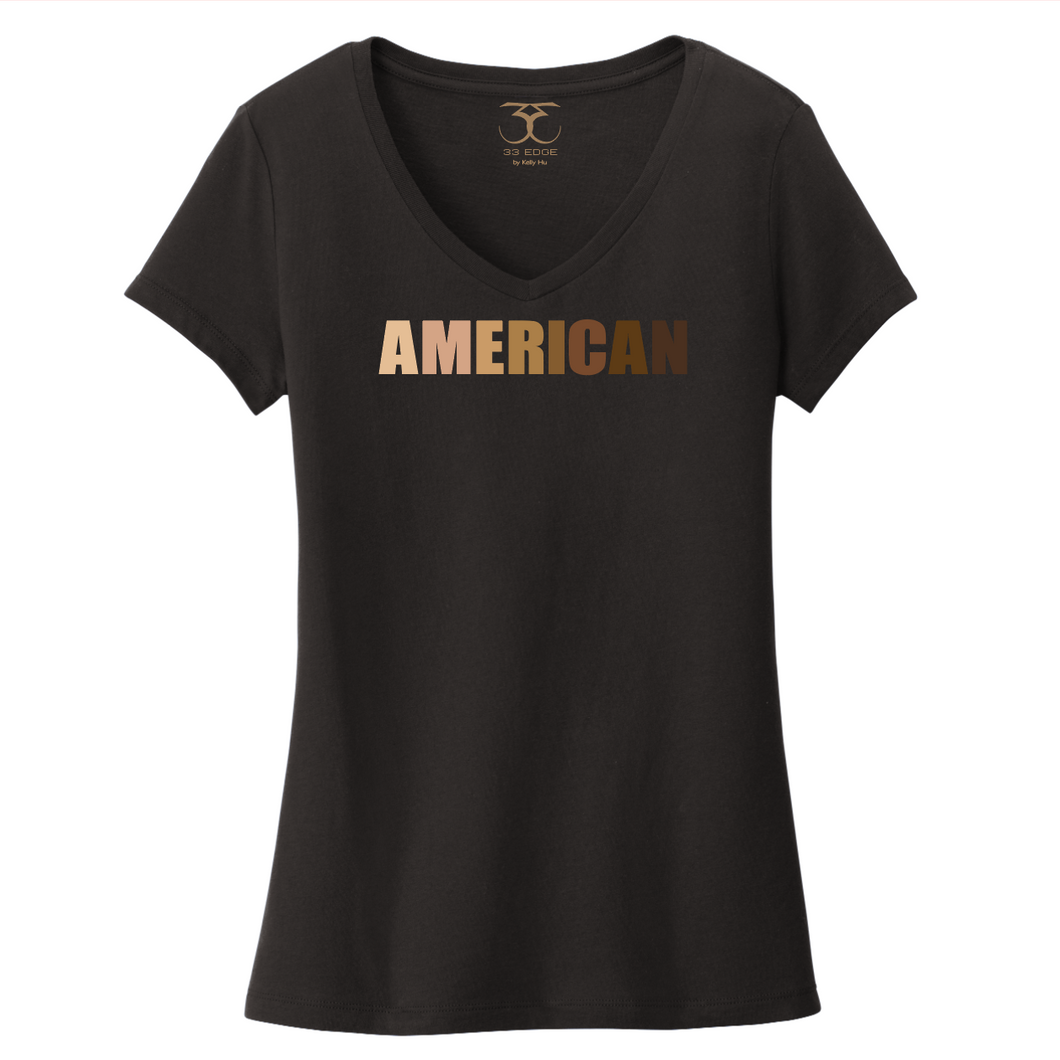 black women's v-neck 100% cotton short sleeve graphic t-shirt with