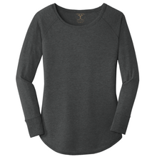 Load image into Gallery viewer, women's long sleeve wide neck tunic style t-shirt in black frost. 50/25/25 poly/combed ring spun cotton/rayon blend