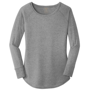 women's long sleeve wide neck tunic style t-shirt in grey frost. 50/25/25 poly/combed ring spun cotton/rayon blend