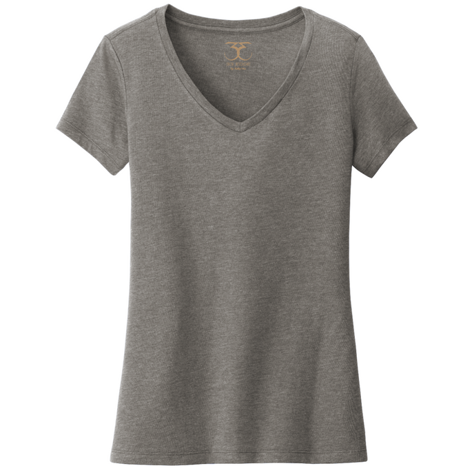 Heather grey women's v-neck cotton/poly short sleeve t-shirt.