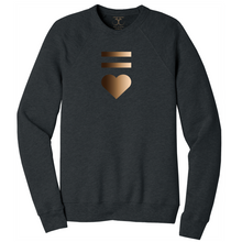 Load image into Gallery viewer, Dark heather grey unisex crew neck cotton/poly long sleeve graphic sweatshirt with equal and heart symbols printed in a gradient of skin tones.