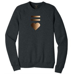 Dark heather grey unisex crew neck cotton/poly long sleeve graphic sweatshirt with equal and heart symbols printed in a gradient of skin tones.