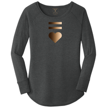 Load image into Gallery viewer, women's long sleeve wide neck tunic style t-shirt in black frost with equal and heart symbols printed in a gradient of skin tones