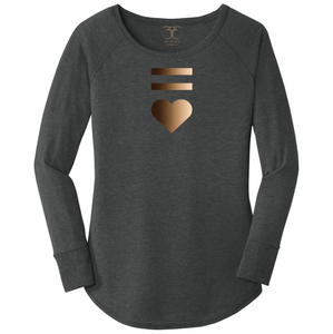 women's long sleeve wide neck tunic style t-shirt in black frost with equal and heart symbols printed in a gradient of skin tones