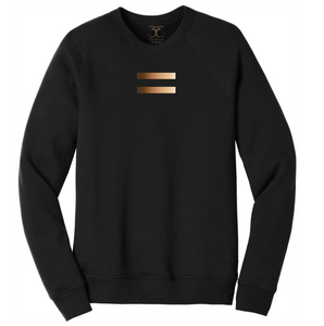 black unisex crew neck cotton/poly long sleeve graphic sweatshirt with equal symbol printed in a gradient of skin tones.