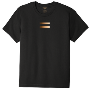 black unisex crew neck 100% cotton/poly short sleeve graphic t-shirt with equal symbol printed in a gradient of skin tones.