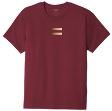 Load image into Gallery viewer, Currant red unisex crew neck 100% cotton short sleeve graphic t-shirt with equal symbol printed in a gradient of skin tones.