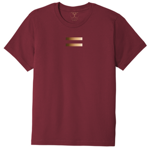 Currant red unisex crew neck 100% cotton short sleeve graphic t-shirt with equal symbol printed in a gradient of skin tones.