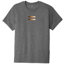 Load image into Gallery viewer, Heather grey unisex crew neck cotton/poly short sleeve graphic t-shirt with equal symbol printed in a gradient of skin tones.