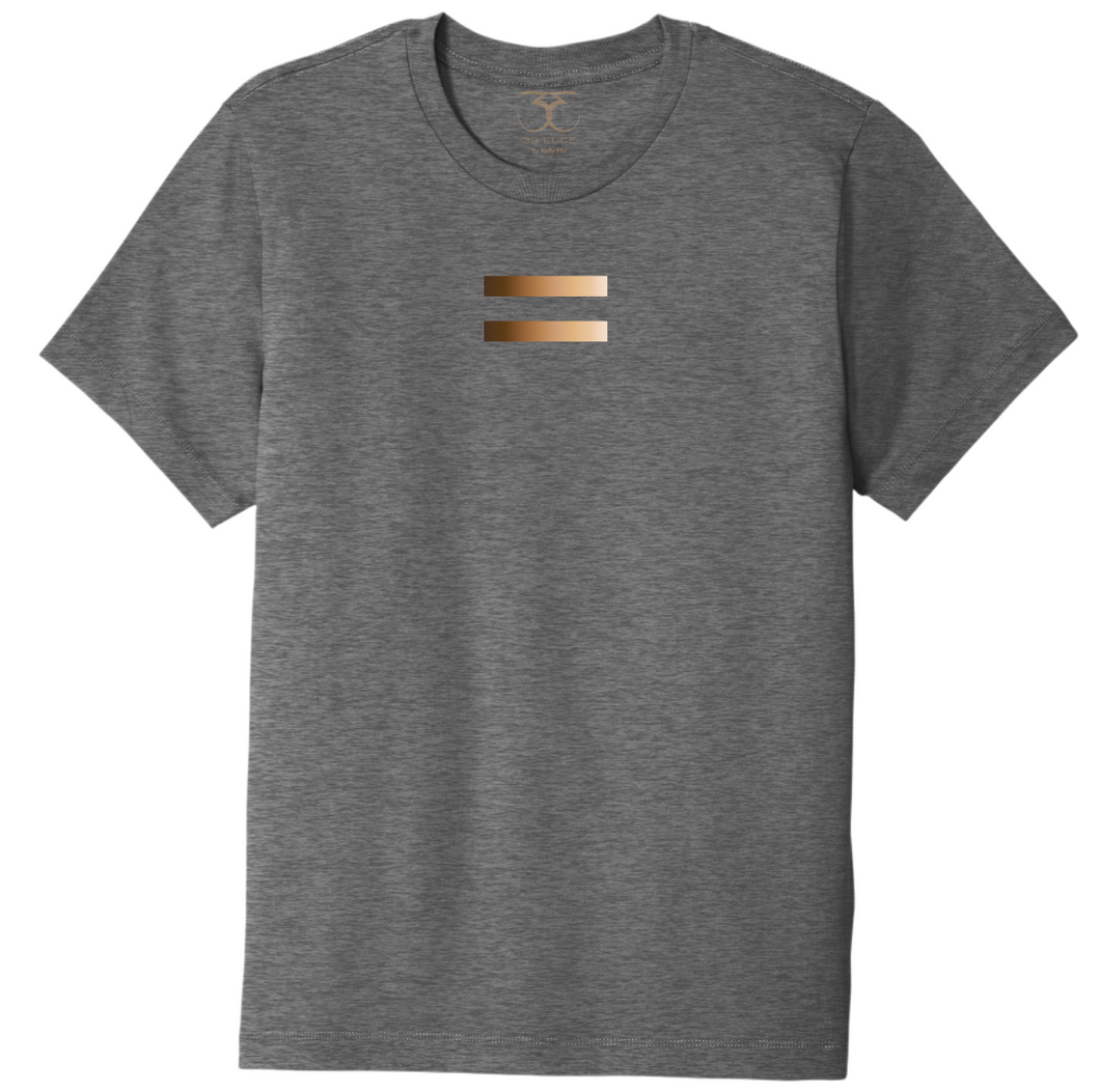 Heather grey unisex crew neck cotton/poly short sleeve graphic t-shirt with equal symbol printed in a gradient of skin tones.