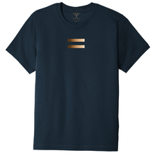 Load image into Gallery viewer, Navy unisex crew neck 100% cotton short sleeve graphic t-shirt with equal symbol printed in a gradient of skin tones.