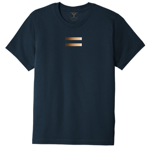 Navy unisex crew neck 100% cotton short sleeve graphic t-shirt with equal symbol printed in a gradient of skin tones.