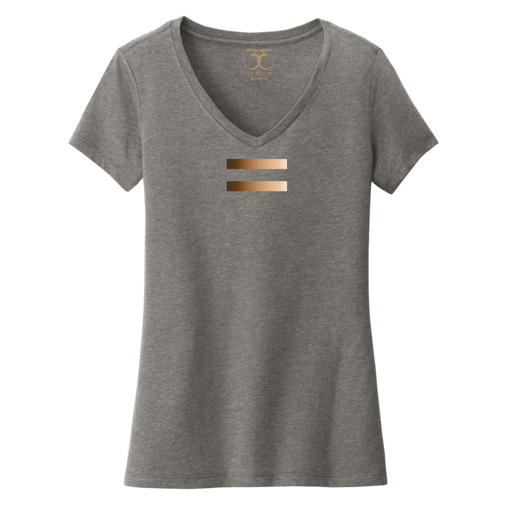 Heather grey women's v-neck cotton/poly short sleeve graphic t-shirt with equal symbol printed in a gradient of skin tones.