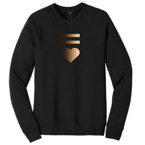 Black unisex crew neck cotton/poly long sleeve graphic sweatshirt with equal and heart symbols printed in a gradient of skin tones.