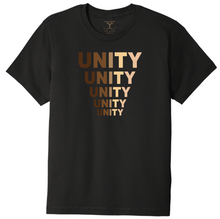 "Load image into Gallery viewer, black unisex crew neck 100% cotton short sleeve graphic t-shirt with ""unity"" printed in five descending rows in a range of skin tones."